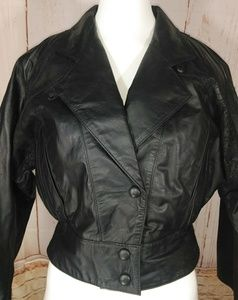 Cropped Leather Jacket black vintage 80s Like new!